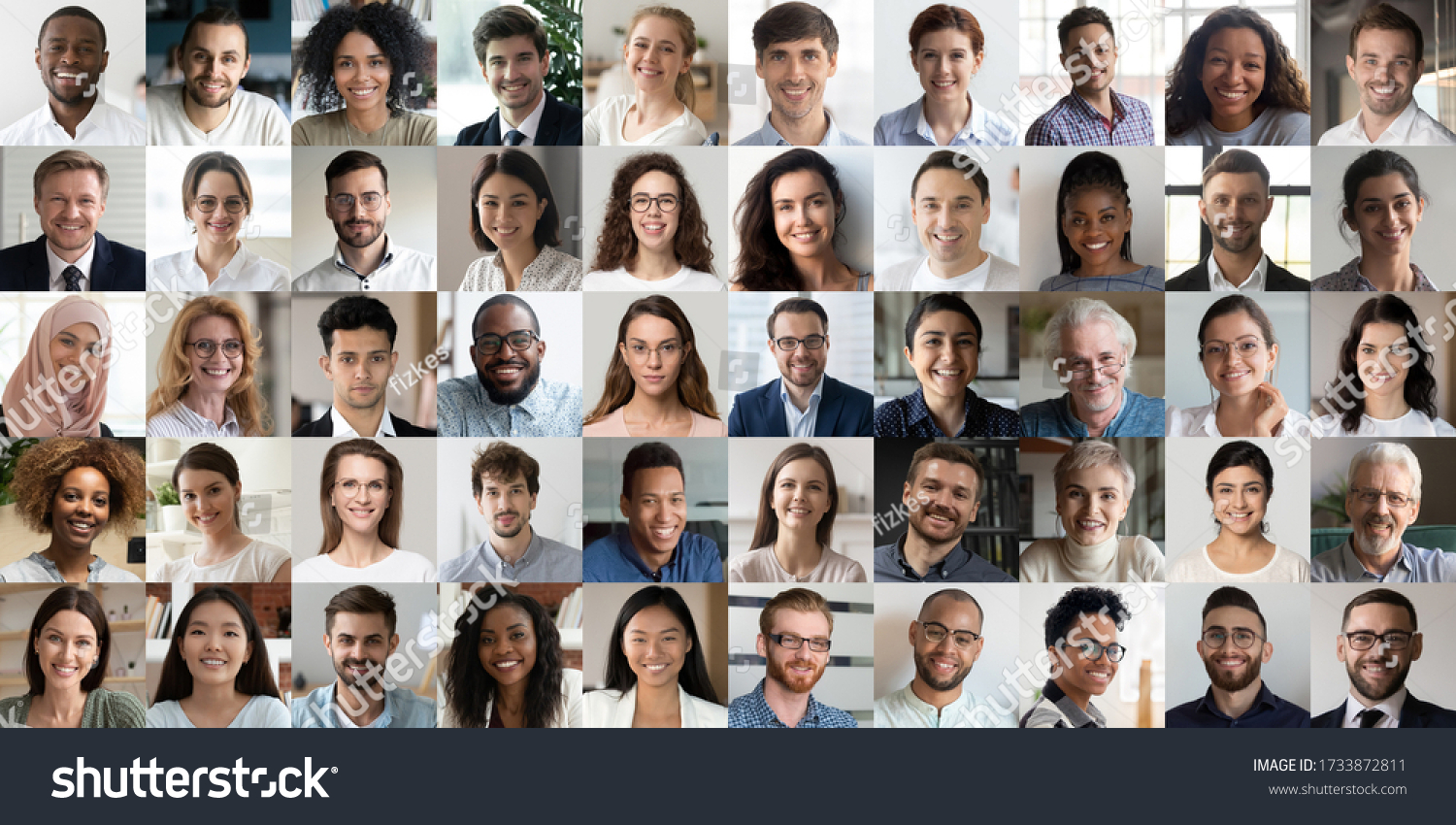 Many happy diverse ethnicity different young and old people group headshots in collage mosaic collection. Lot of smiling multicultural faces looking at camera. Human resource society database concept. #1733872811