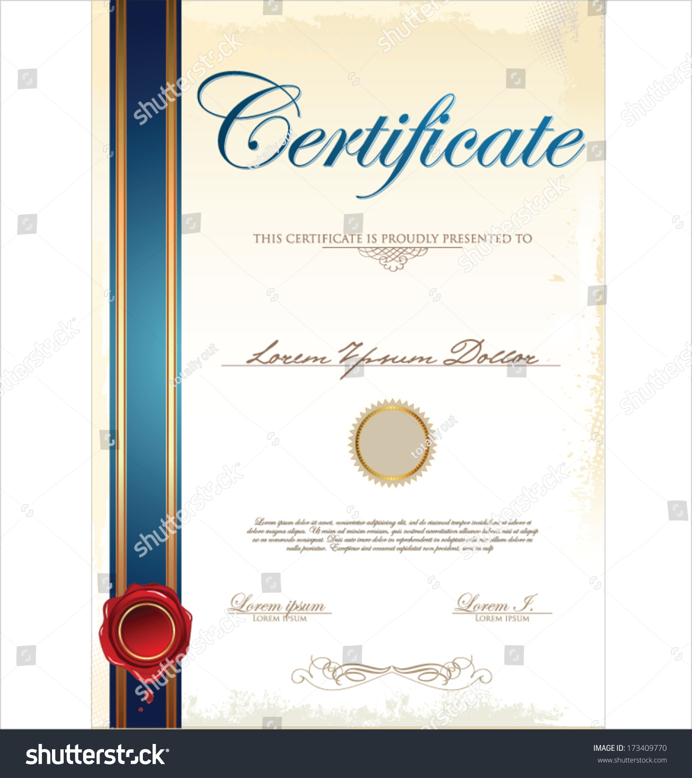 Certificate template stock vector 173409770 shutterstock for Certificate design template