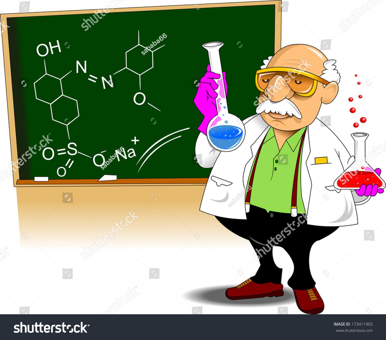 Chemistry Teacher Shows Chemical Experience Vector Stock Vector ...