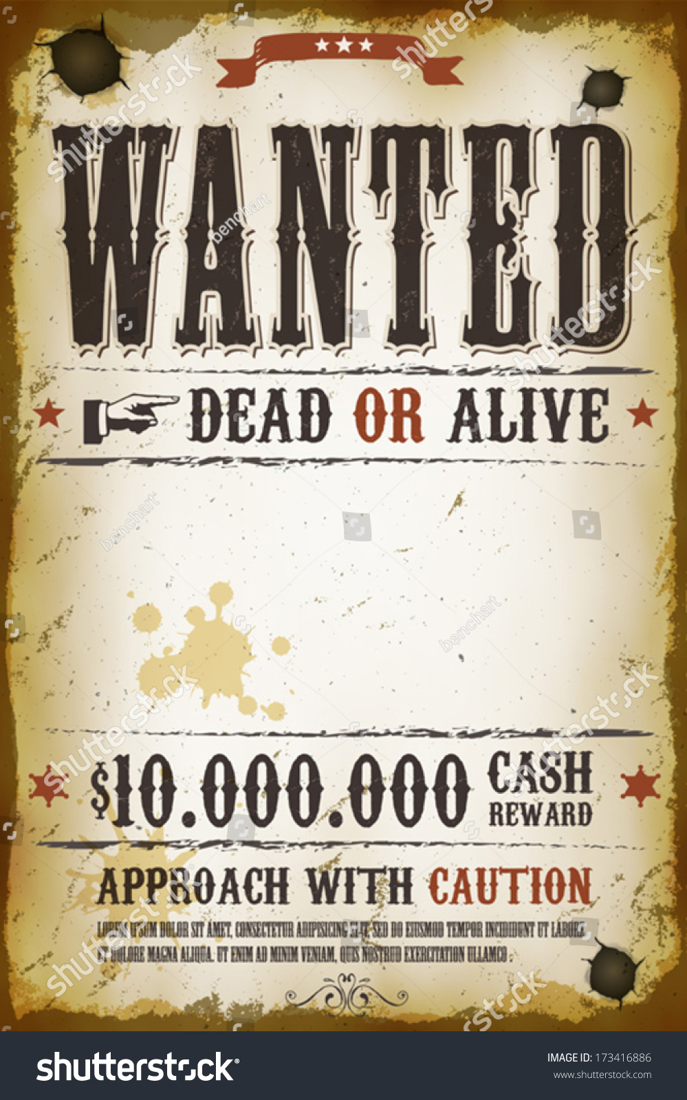 wanted vintage western poster stock vector 173416886
