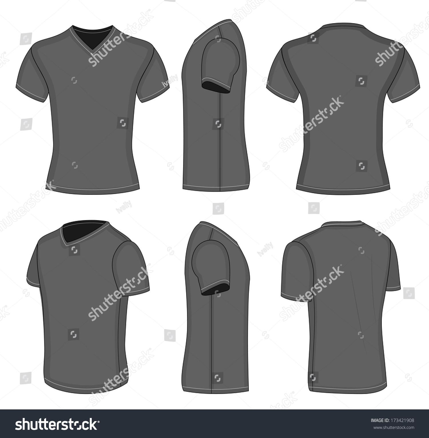 All Views Mens Black Short Sleeve Stock Vector 173421908