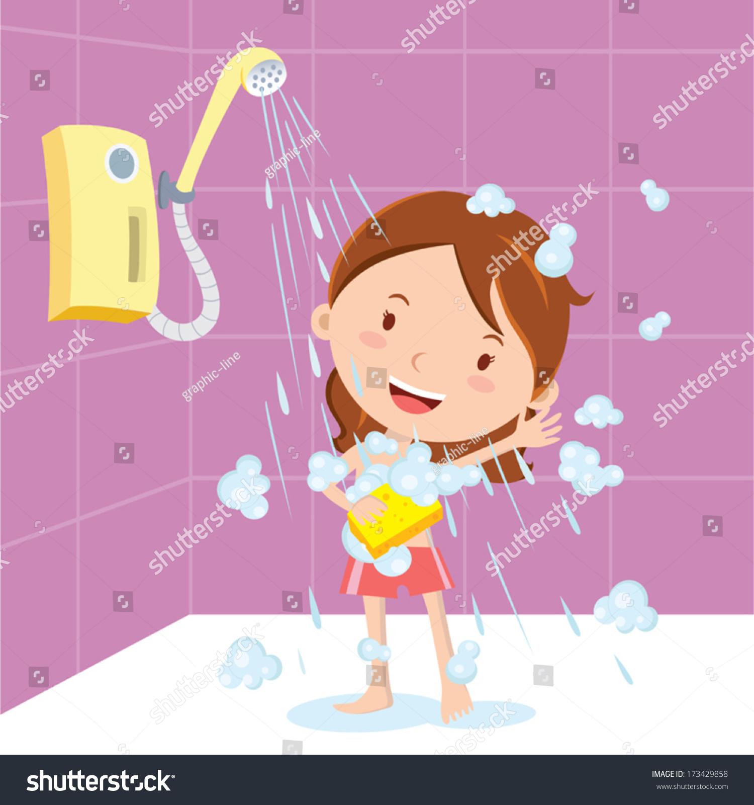 girl shower vector illustration little girl stock vector 173429858 shutterstock. Black Bedroom Furniture Sets. Home Design Ideas