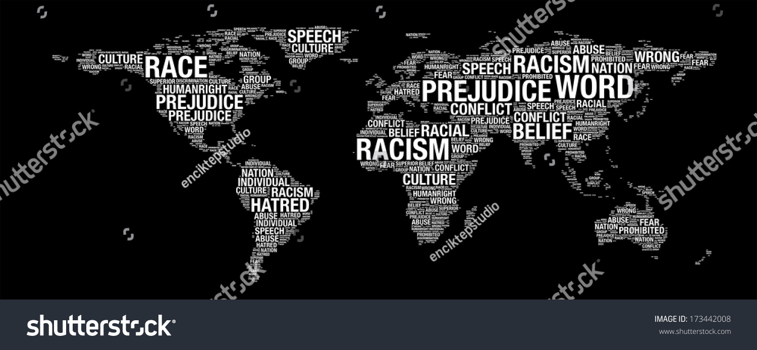 Racism concept on world map illustration ilustracin en stock racism concept on world map illustration in word collage gumiabroncs Image collections