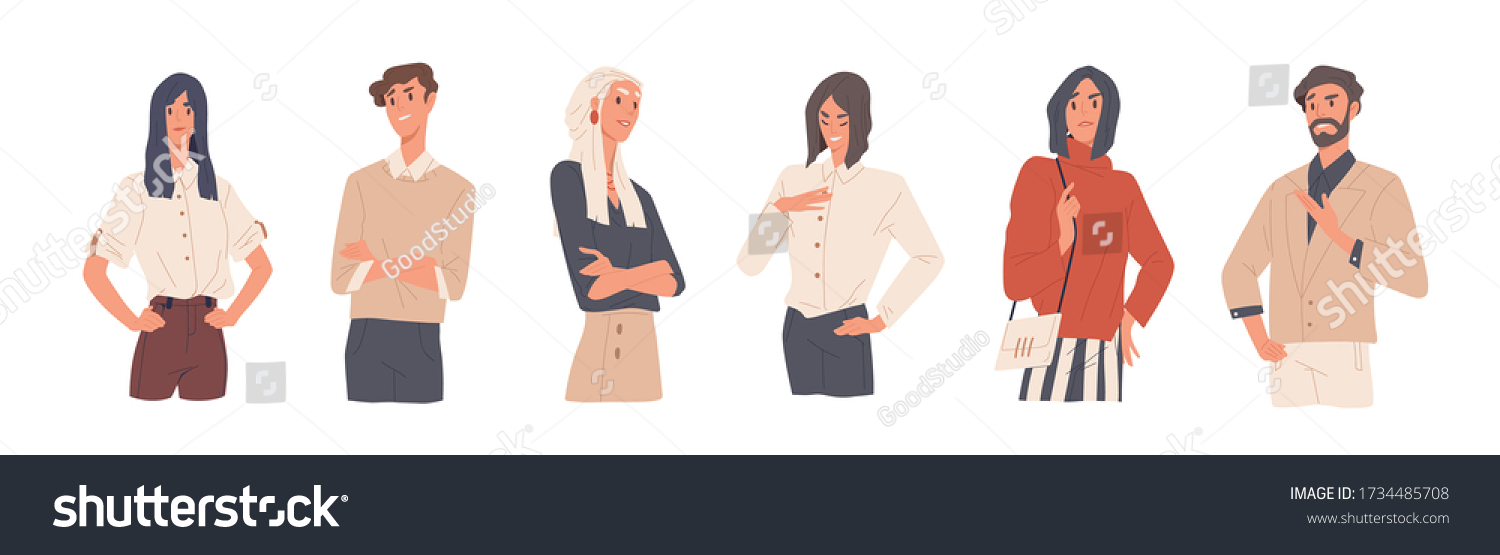Set of man and woman with arrogant face expression vector flat illustration. Collection of colorful annoying selfish persons isolated on white background. Stylish self-confident people