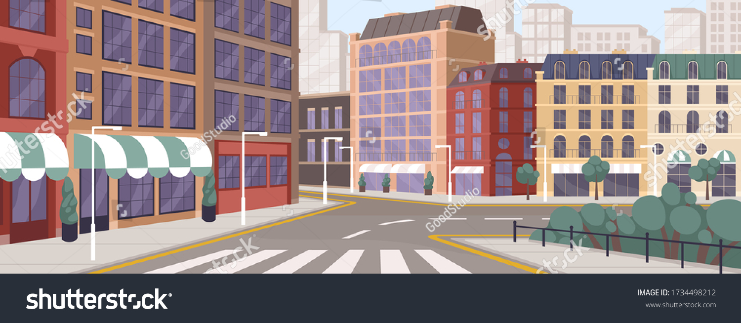 Colorful street of modern European city vector graphic illustration. Architecture building exterior of downtown panoramic view. Colored megapolis cityscape. Central district with house facade #1734498212