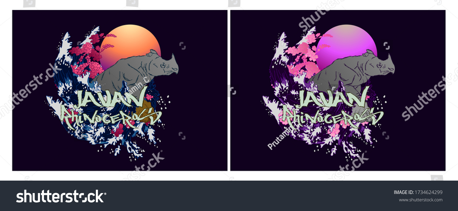 javan rhinoceros illustration design for sukajan is mean japan traditional cloth or t-shirt with digital hand drawn