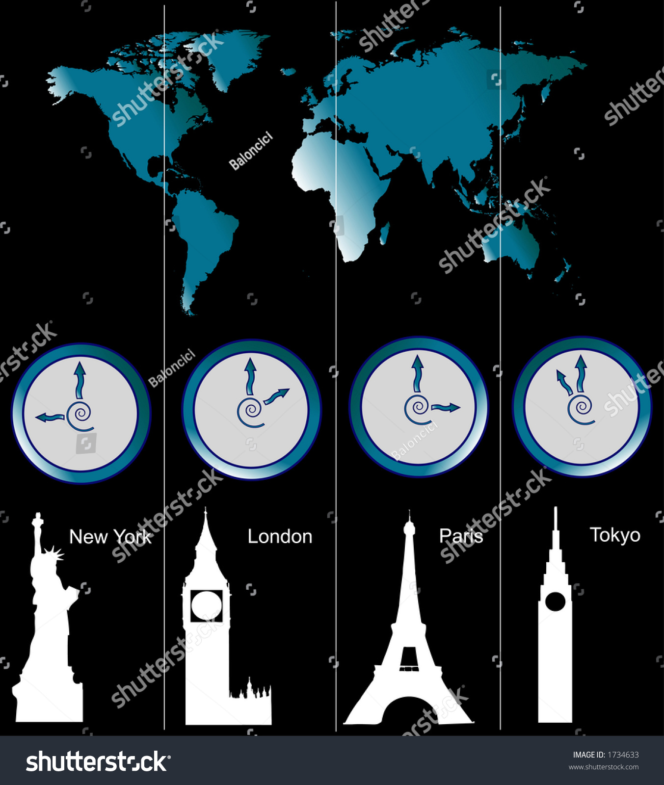 Image world map clocks showing time stock illustration 1734633 image of a world map with clocks showing time of four cities new york gumiabroncs Choice Image
