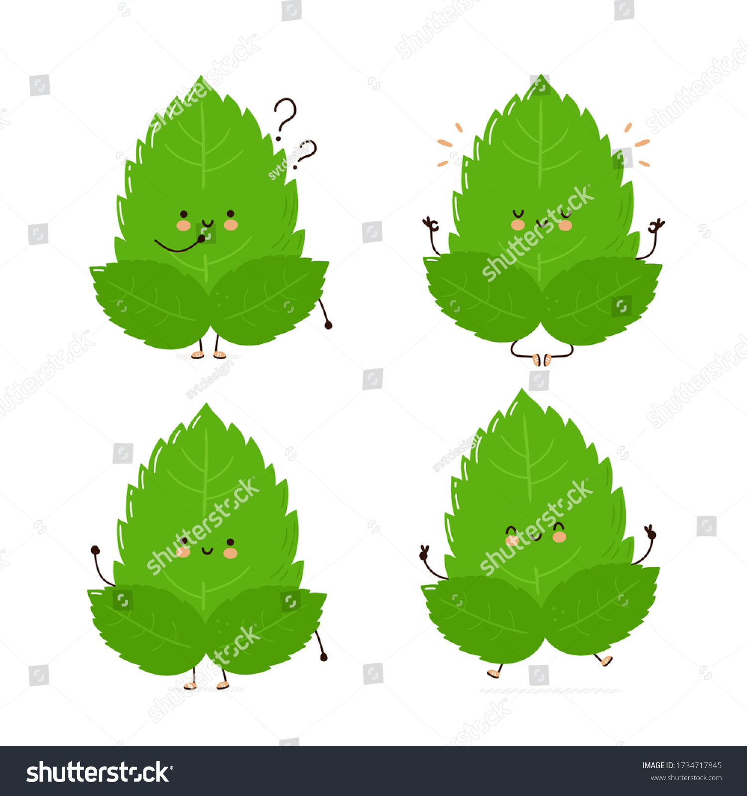 Cute happy funny smiling mint leaf character set collection. Isolated on white background. Vector cartoon character illustration. Mint jump,meditate in yoga pose cartoon character bundle set concept #1734717845