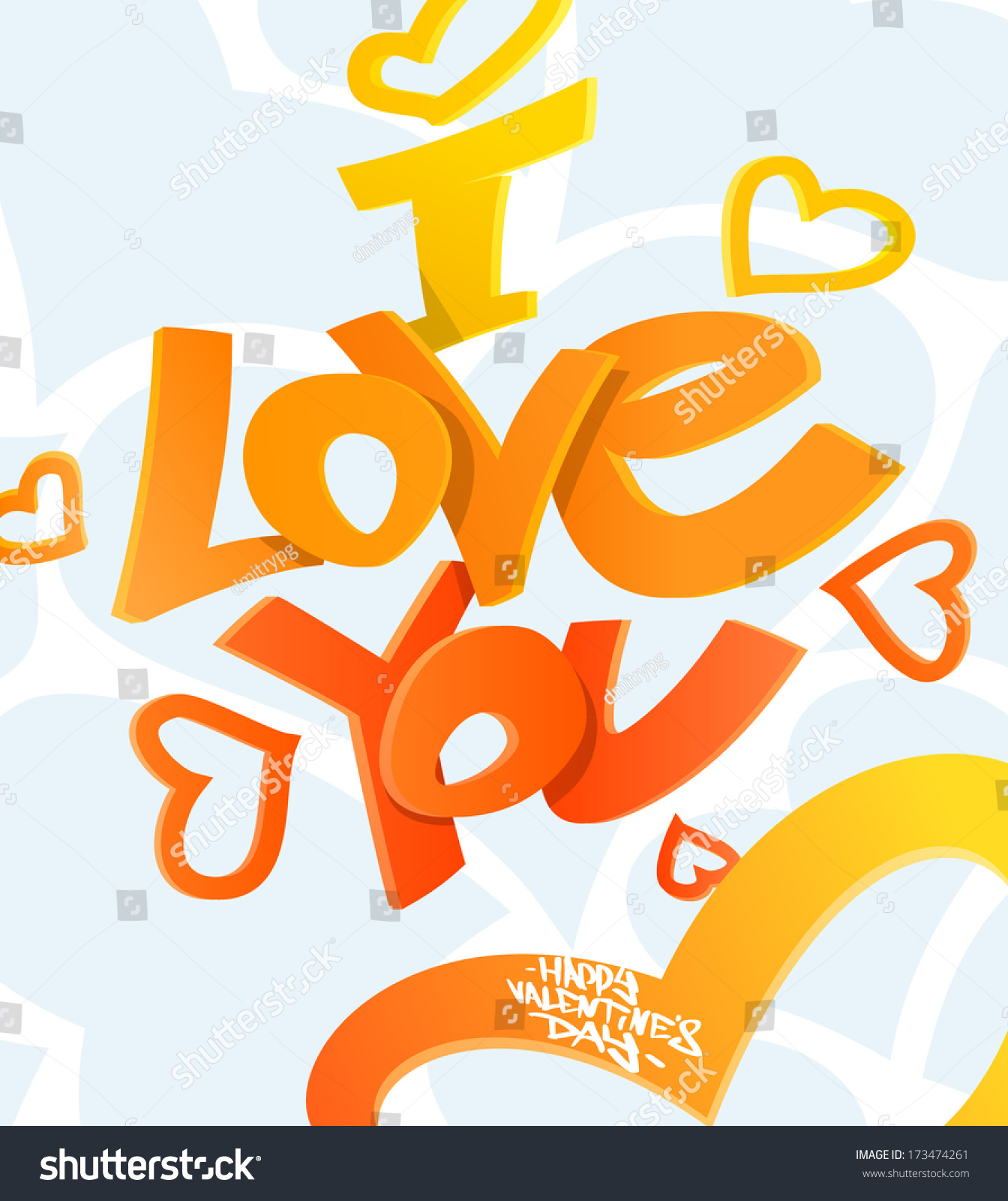 Happy Valentines Day Graffiti Greeting Card Stock Vector 173474261