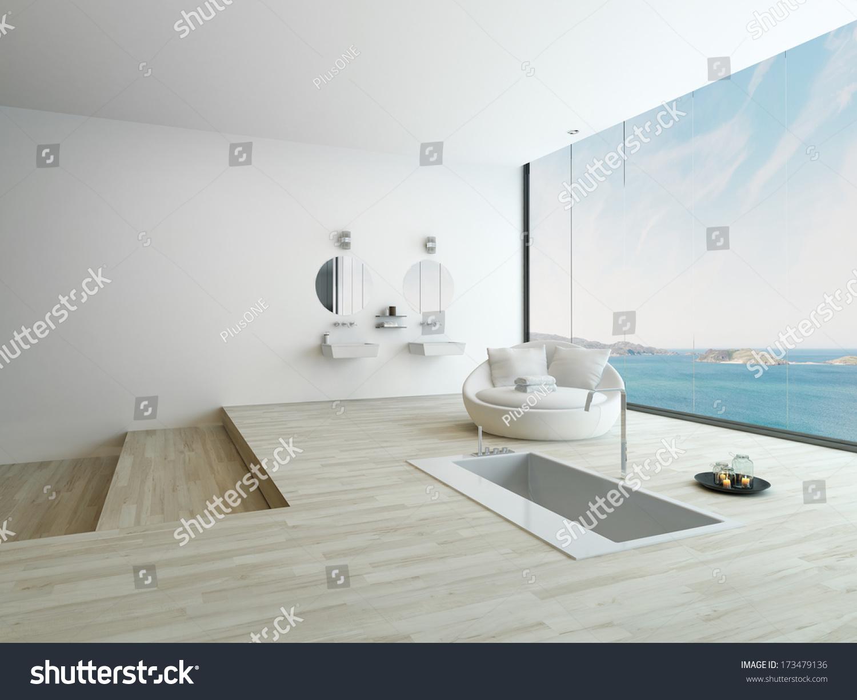 Modern Floor Bathtub Against Huge Window Stock Illustration ...