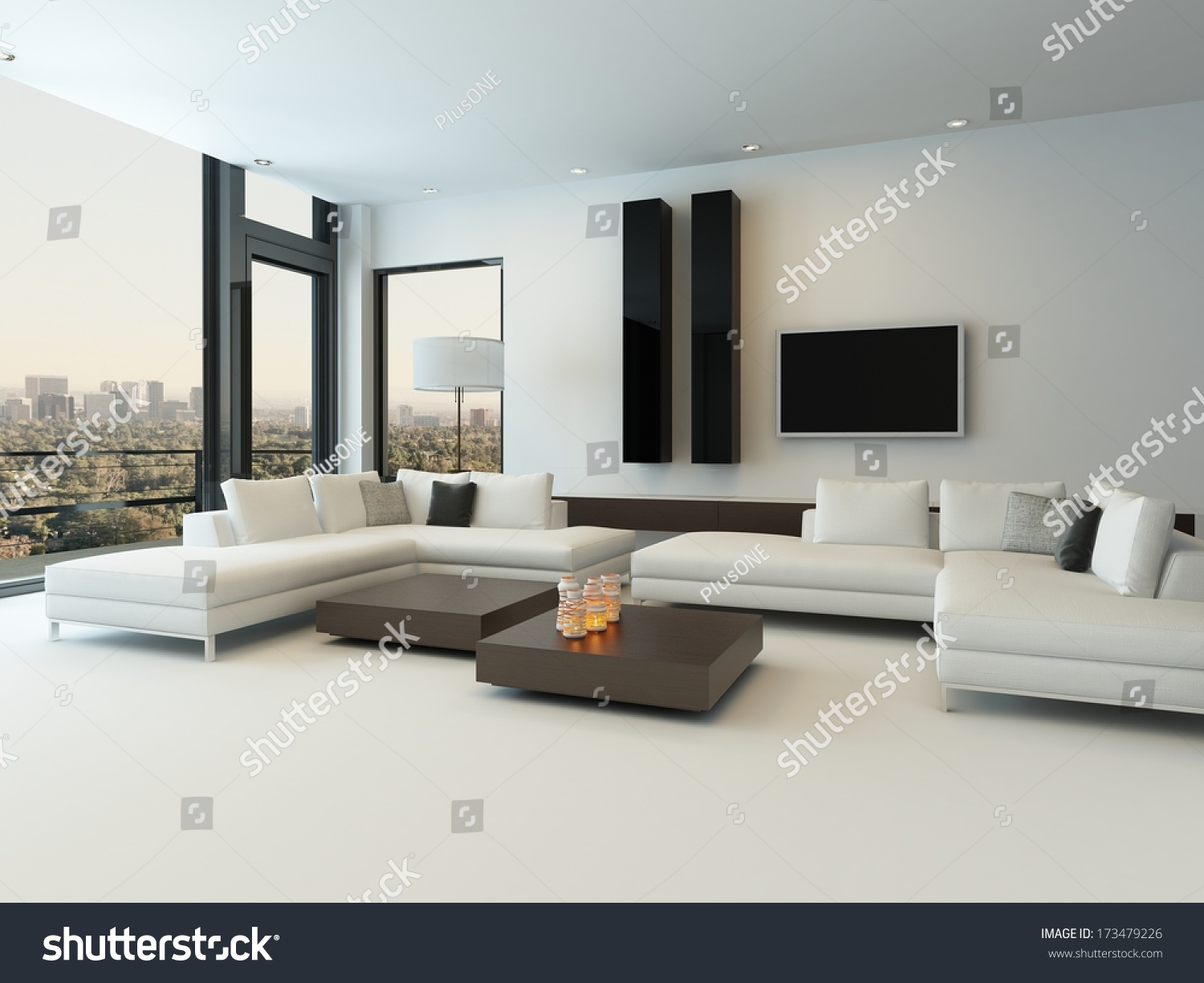 modern white living room with wooden furniture stock photo 173479226