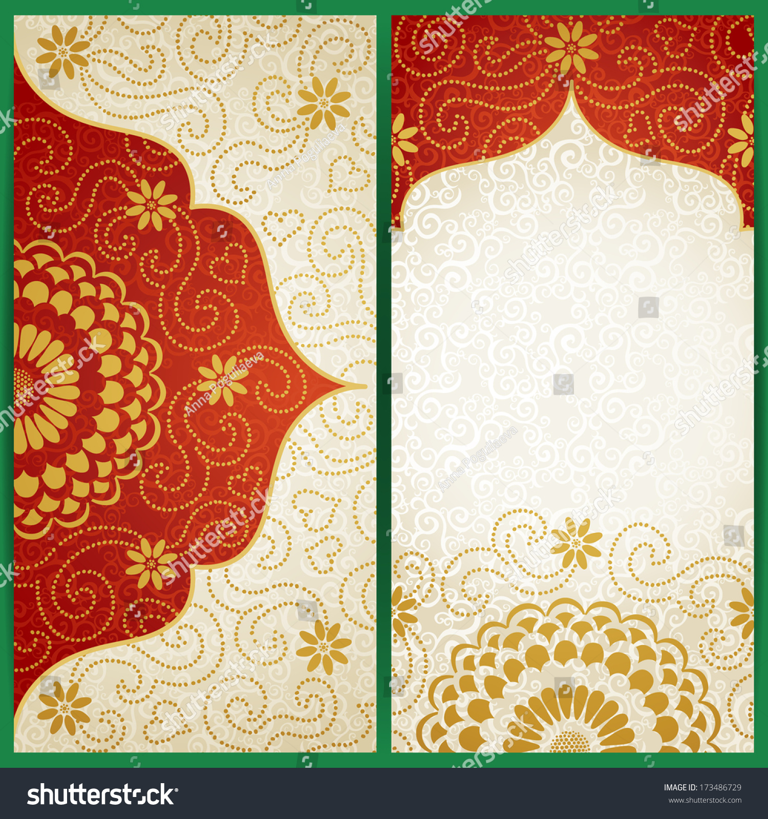 Vintage Cards Flowers Curls Background Vector Stock Vector (Royalty ...
