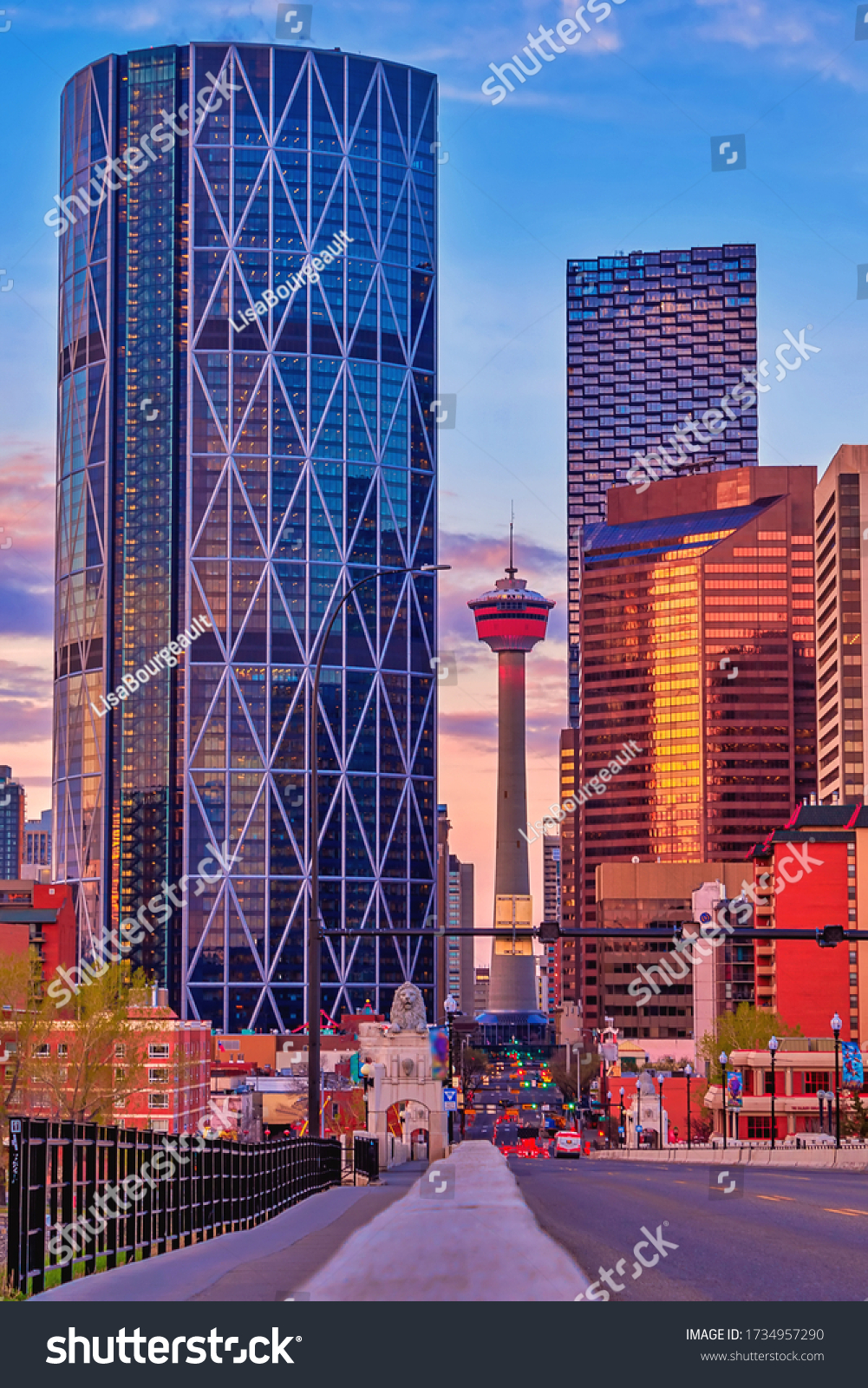 Scenic road leading to downtown Calgary #1734957290
