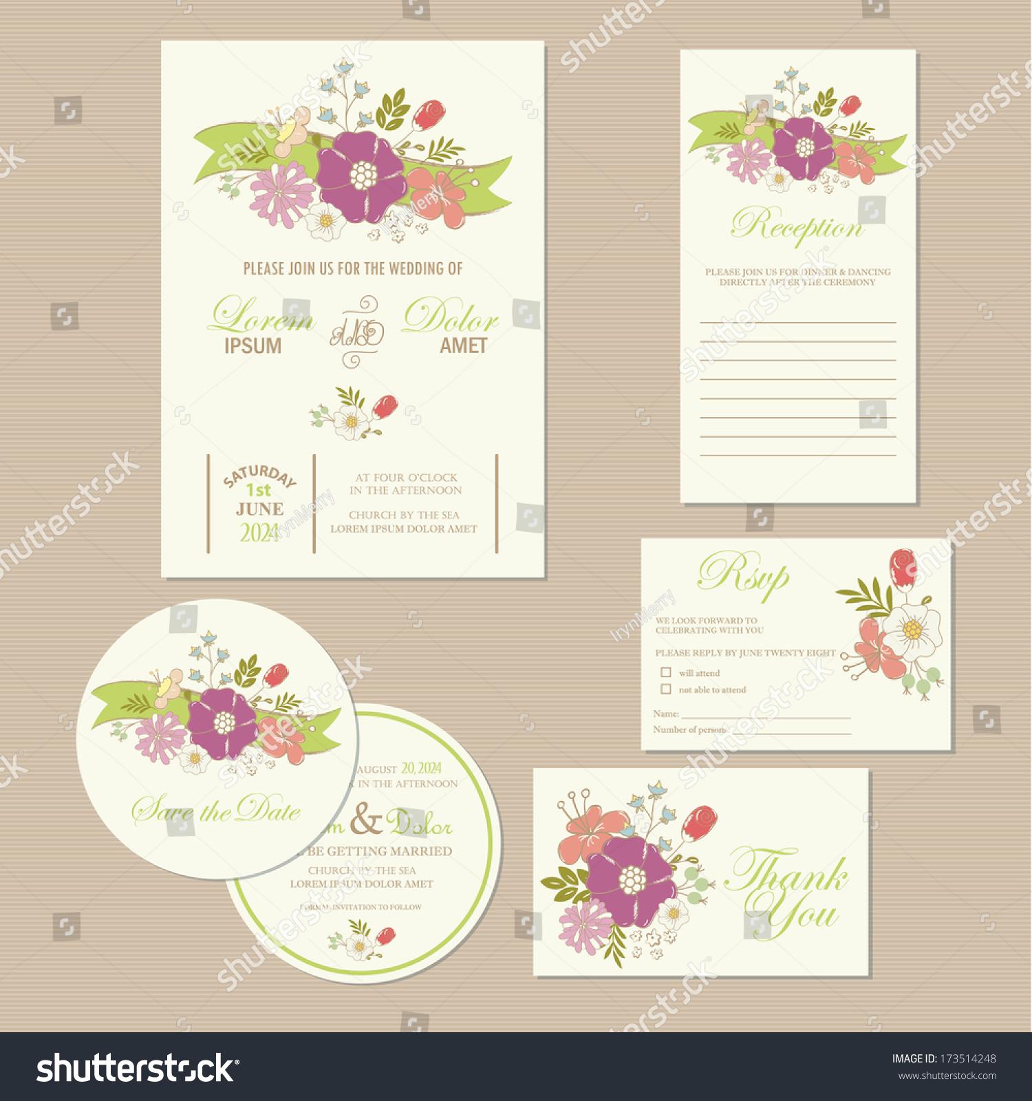 Set Wedding Invitation Cards Invitation Thank Stock Vector (2018 ...