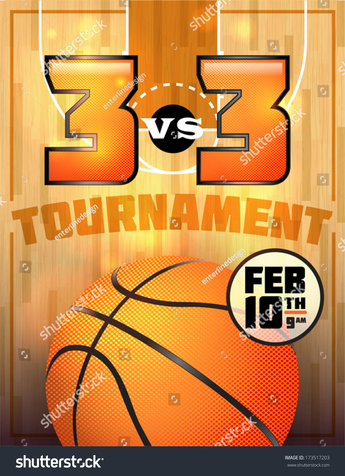 Basketball Tournament Flyer Poster Perfect Basketball Stock Vector
