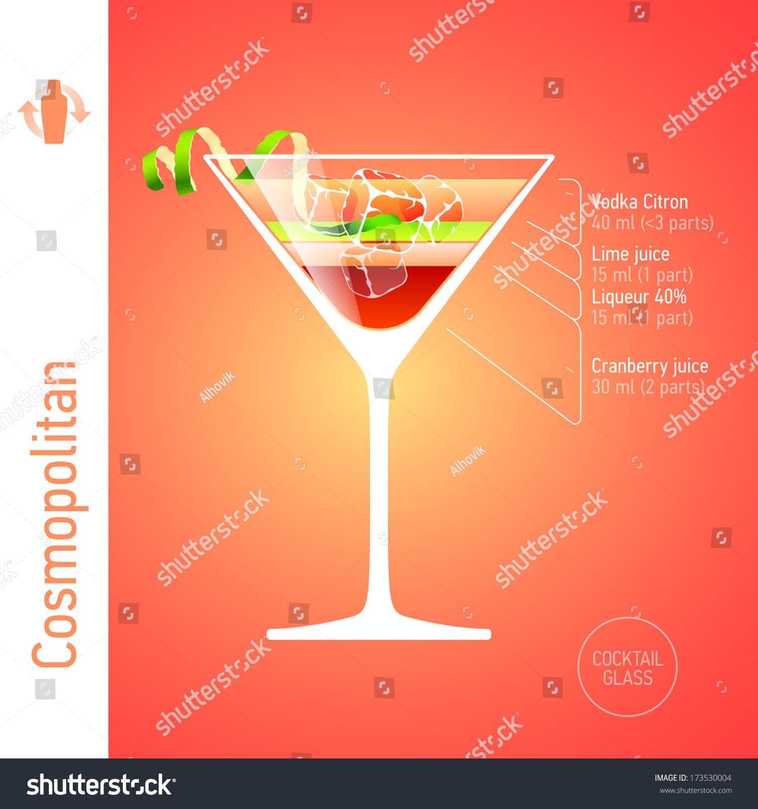 Cosmopolitan cocktail ingredients vector stock vector for Cocktail recipe by ingredients