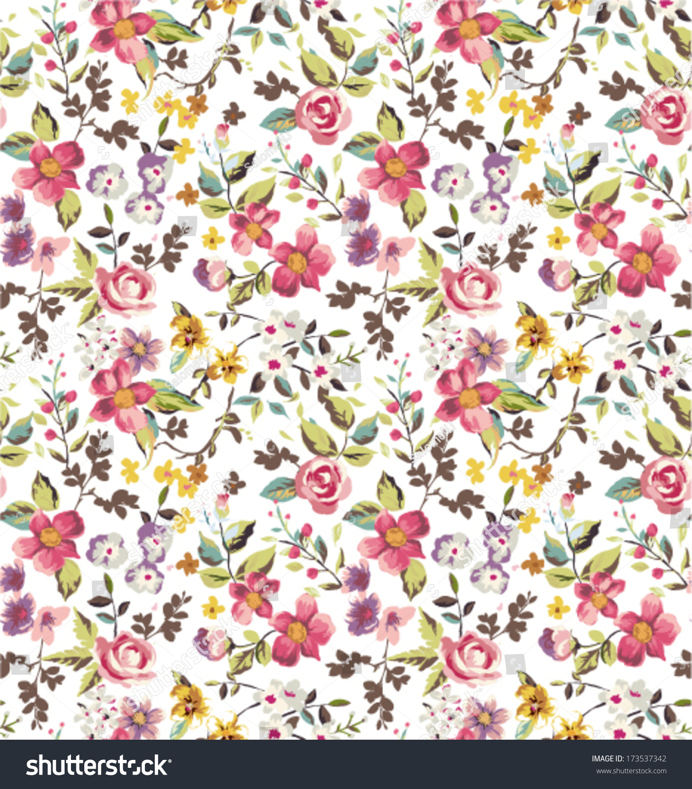 Pink floral seamless vector background floral hrysanthemum seamless - Seamless Tiny Flowers Floral Vector Pattern Background