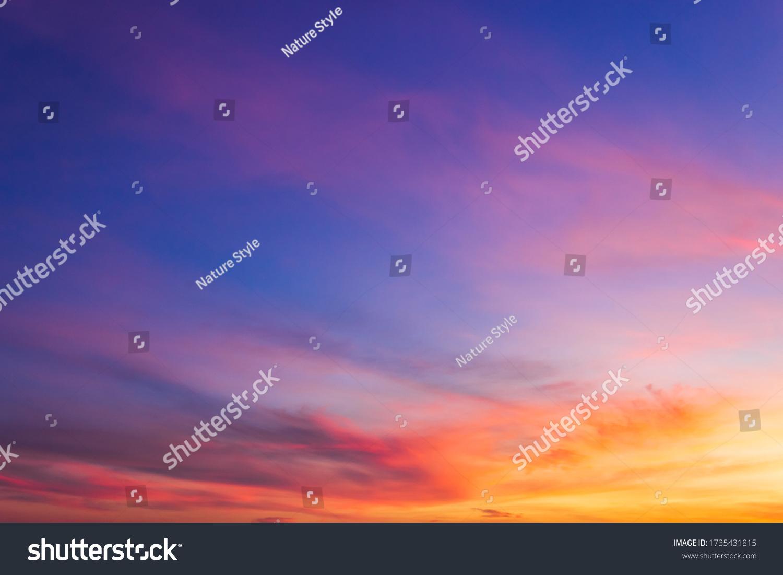 Dusk Sky in the Evening,Amazing Dramatic and Wonderful Cloud on Twilight,Majestic Dark Blue Sky Nature Background,Colorful Cloud on Sunset,Idyllic Dusk peaceful sunlight on nightfall. #1735431815