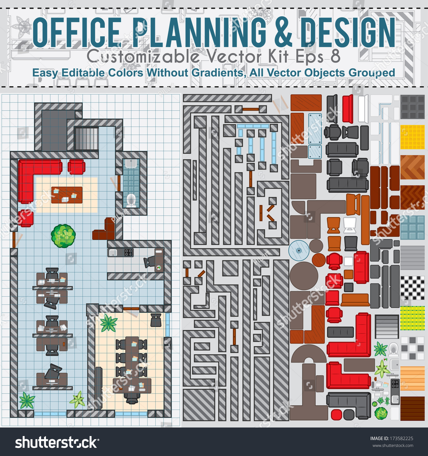 Office space planning and design vector kit contains for Interior design planning checklist