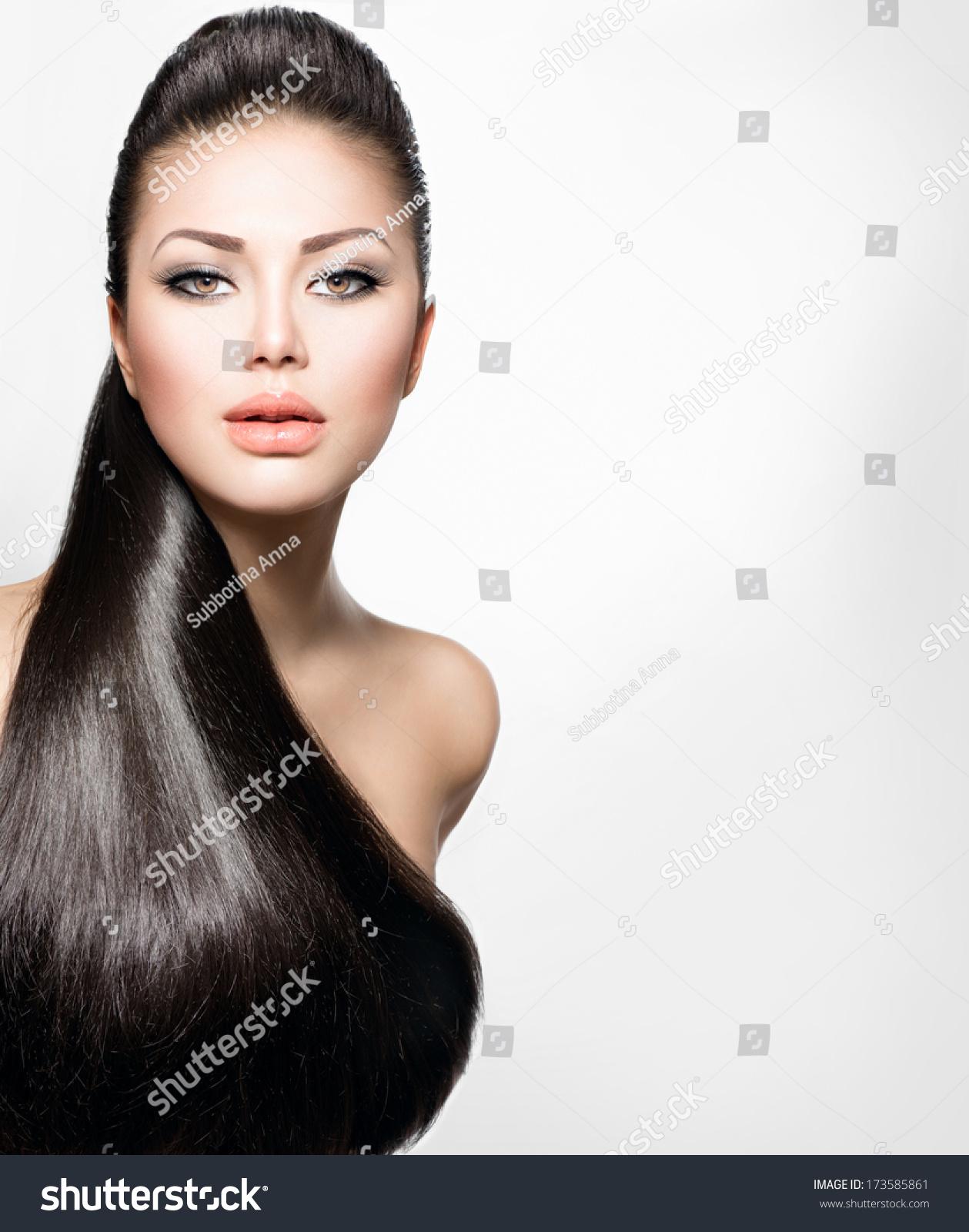 Beauty Brunette Fashion Model Girl Long Stock Photo
