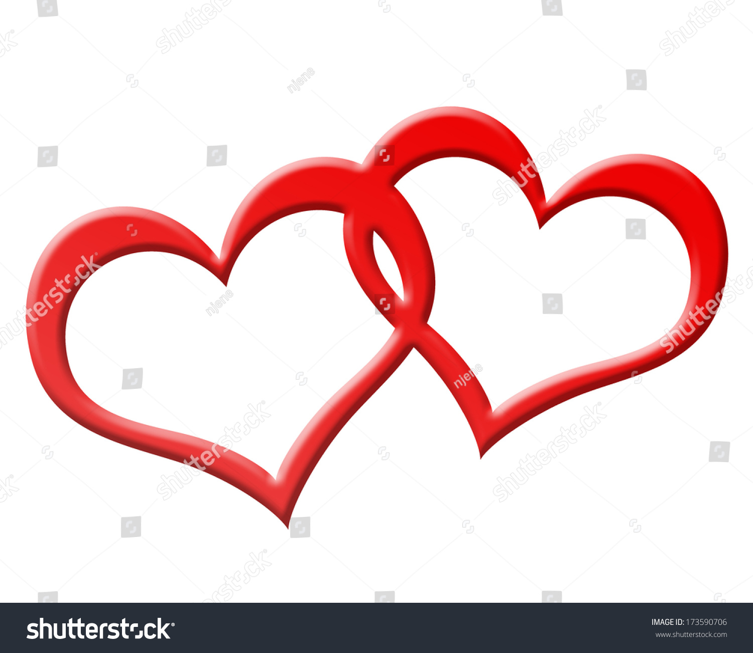 Two Red Hearts Joined Together Stock Illustration ...