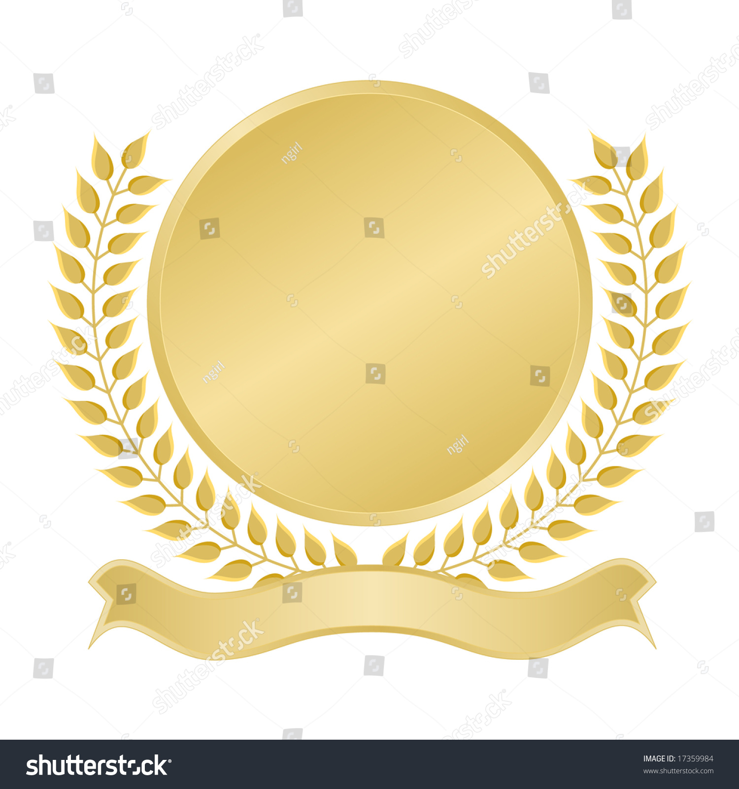 Blank Gold Seal With Ribbon Banner For Award, Quality