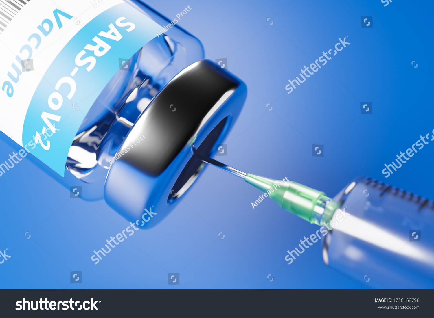 Vaccination against the new Corona Virus SARS-CoV-2: A syringe being drawn up with SARS-CoV-2 vaccination. #1736168798