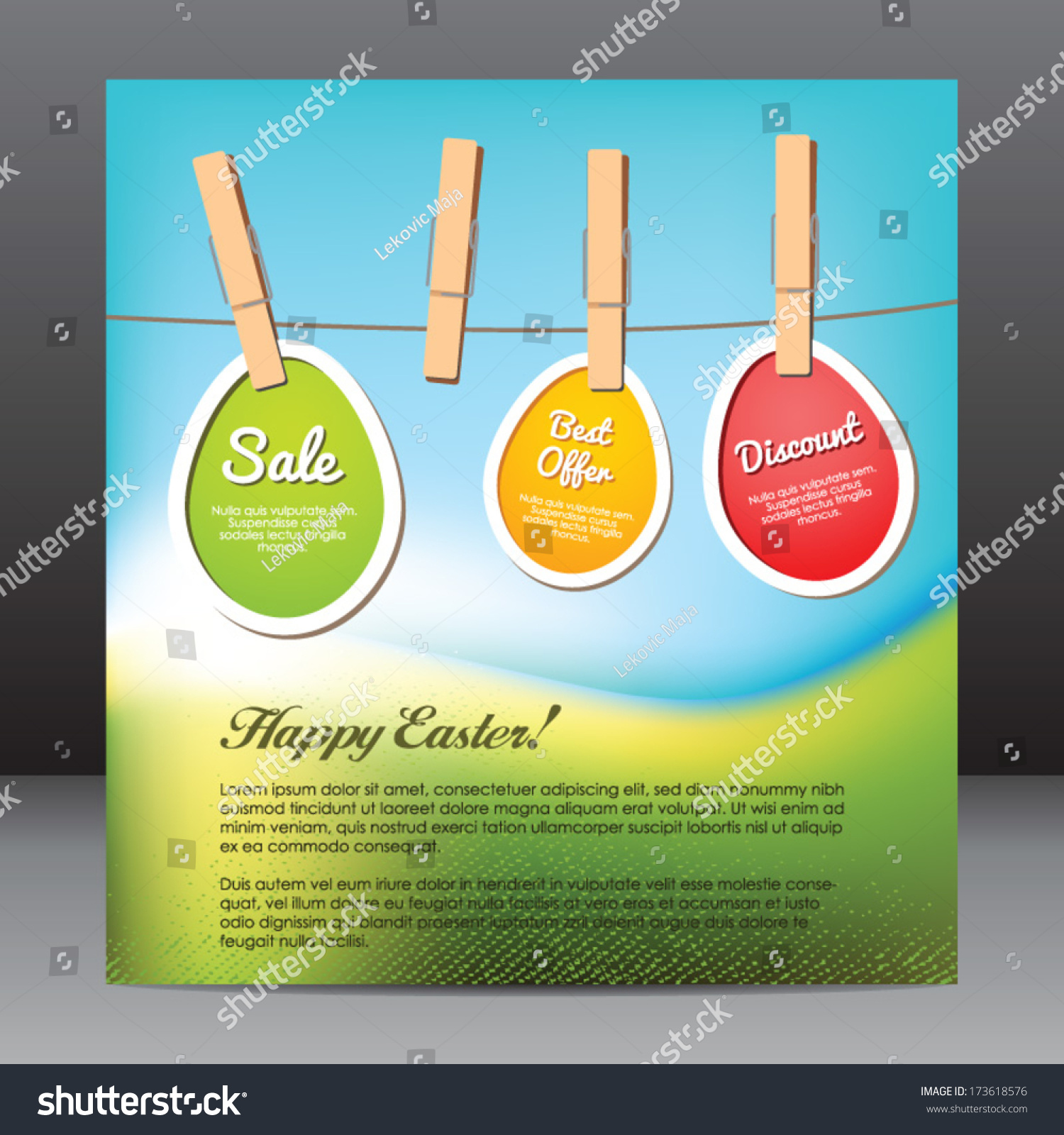 happy easter flyer design template eggs stock vector  happy easter flyer design template eggs stickers on clothespin discount text