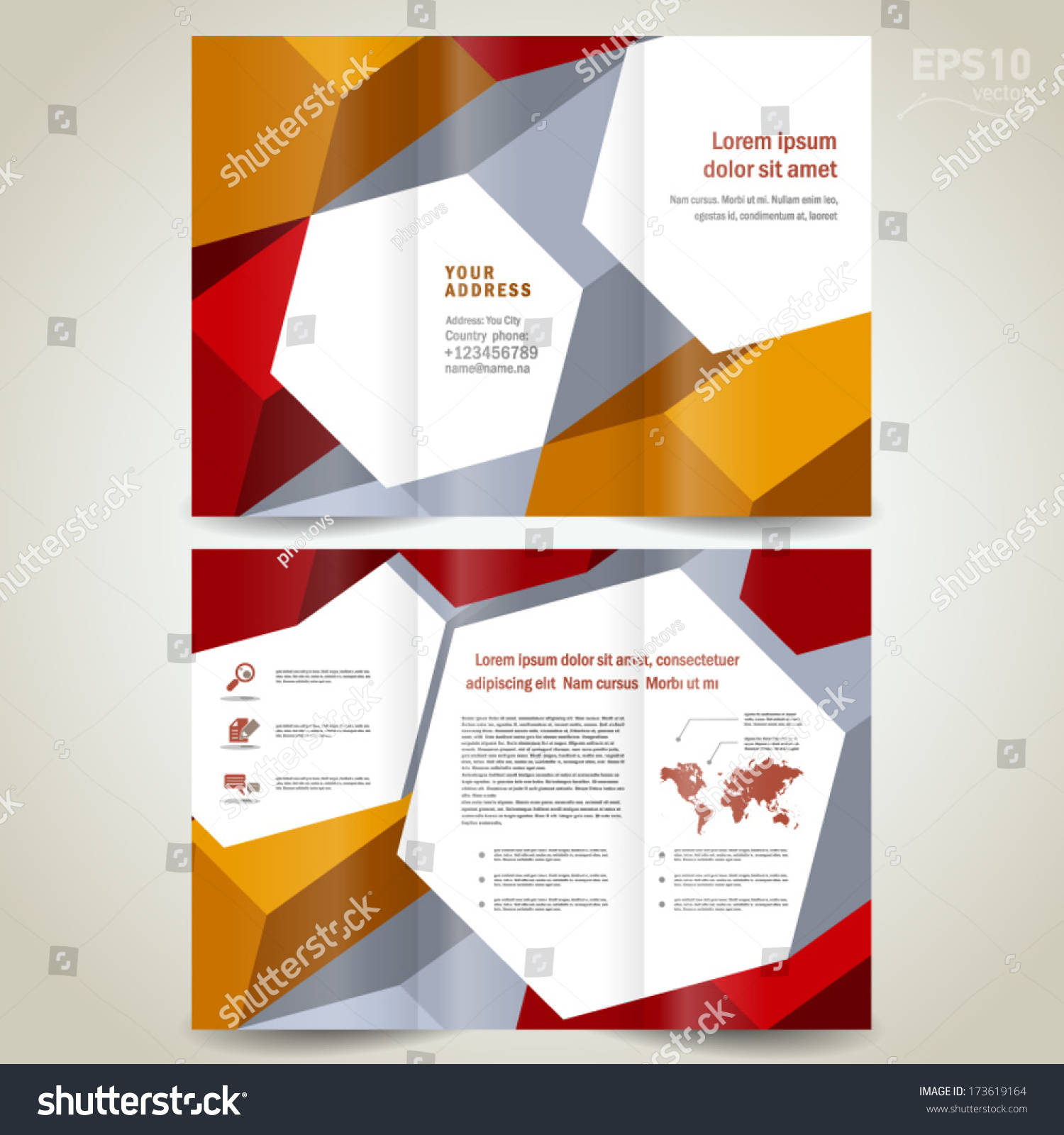 Brochure design template trifold leaflet colored 3d for 3d brochure template