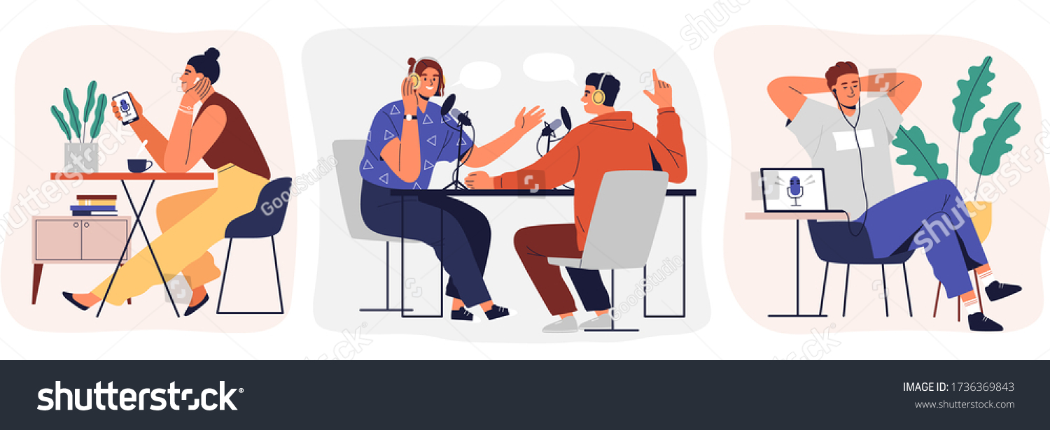 Set of cartoon smiling people listening and recording audio podcast or online show vector flat illustration. Joyful person radio host interviewing guest, mass media broadcasting isolated on white #1736369843
