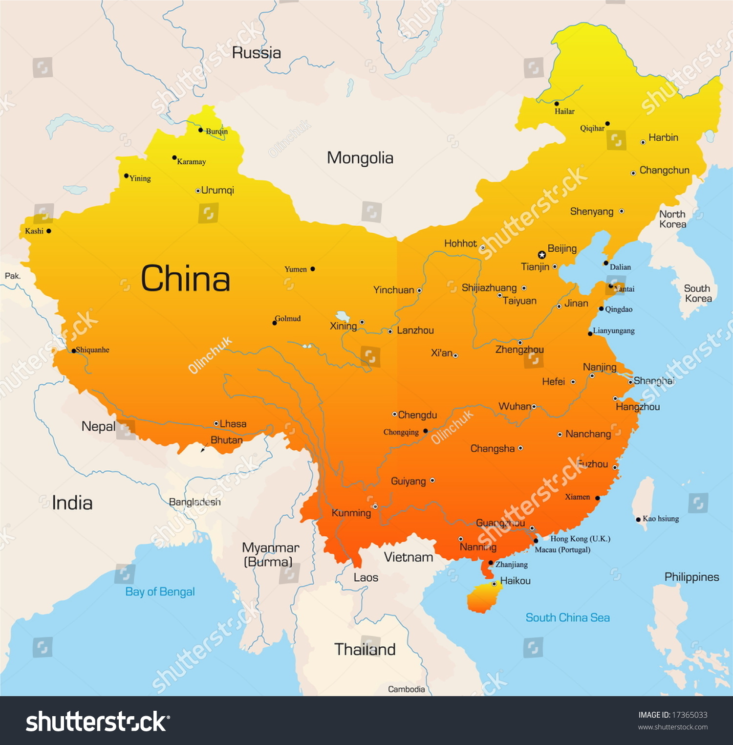 Abstract Vector Color Map China Country Stock Vector (Royalty Free