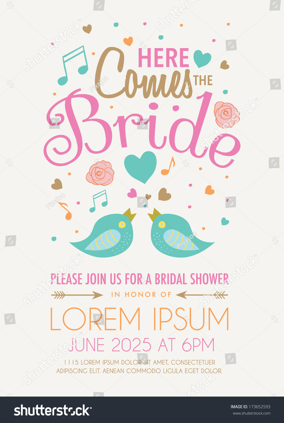Bridal Shower Invitation Featuring Words Here Stock Vector ...