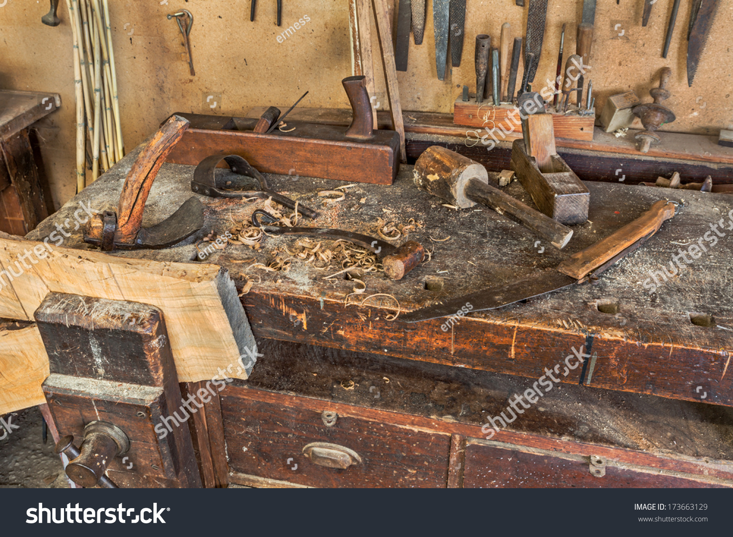 Woodworking Tools Antique Carpentry Old Bench Stock Photo