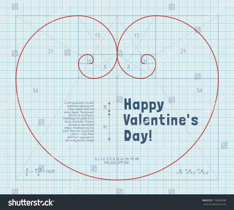 heart of two fibonacci spiral on graph paper  conceptual