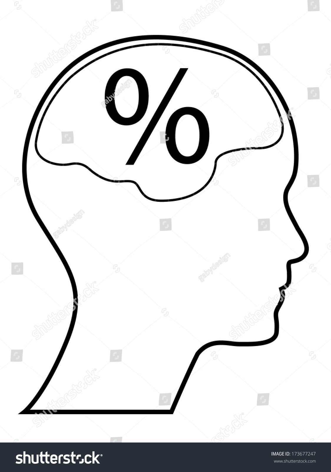 Percentage Mark Human Head Brain Outline Stock Vector Royalty Free Easy Diagram Car Interior Design With And Version Abstract To Edit Eps10