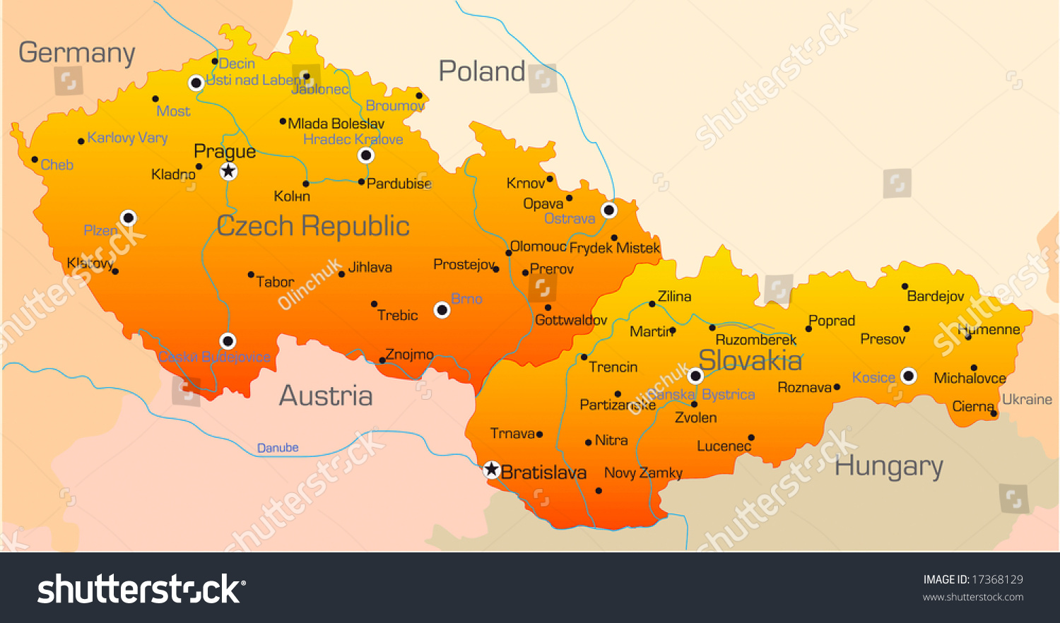 Abstract Vector Color Map Of Czech Republic And Slovakia Country