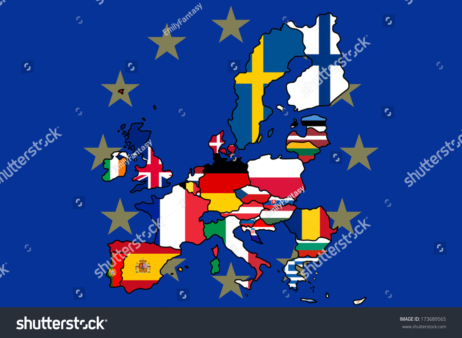 map europe each country colored their stock vector 173689565