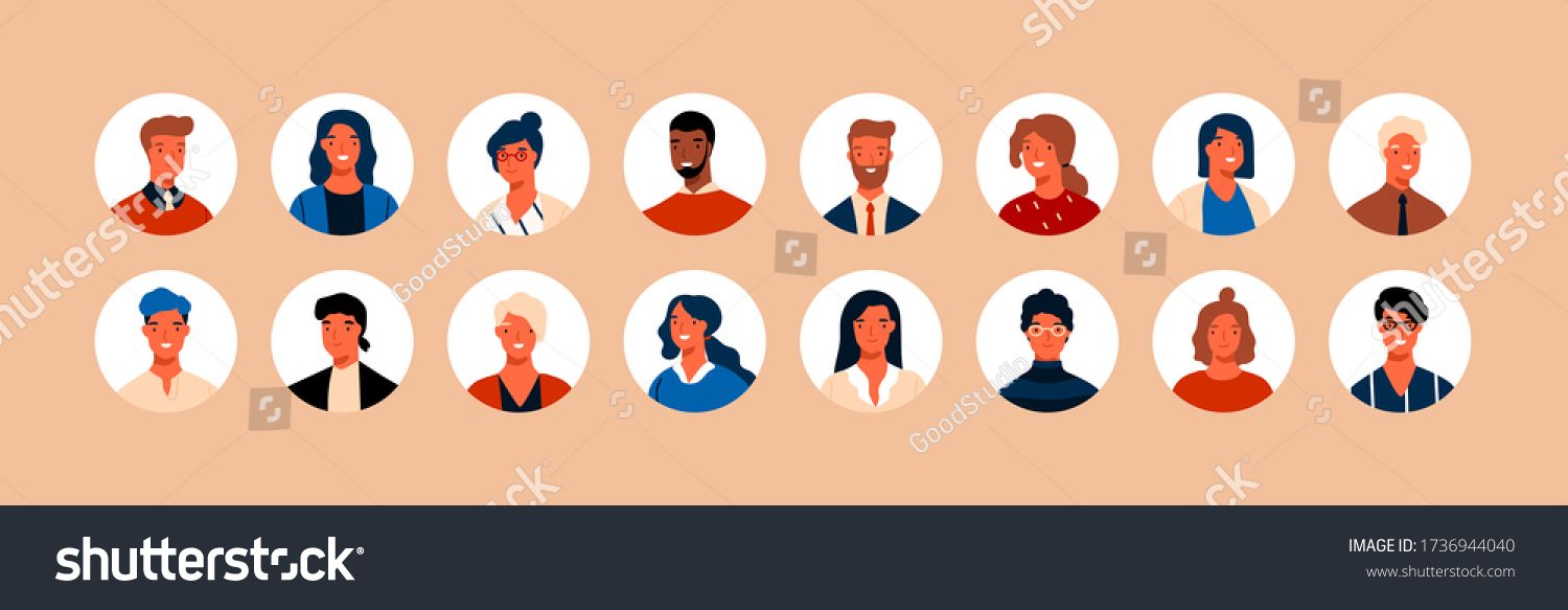 Set different person portrait of big diverse business team vector flat illustration. Collection of people avatars isolated. Bundle of joyful smiling colleagues. Man and woman faces at round frame #1736944040