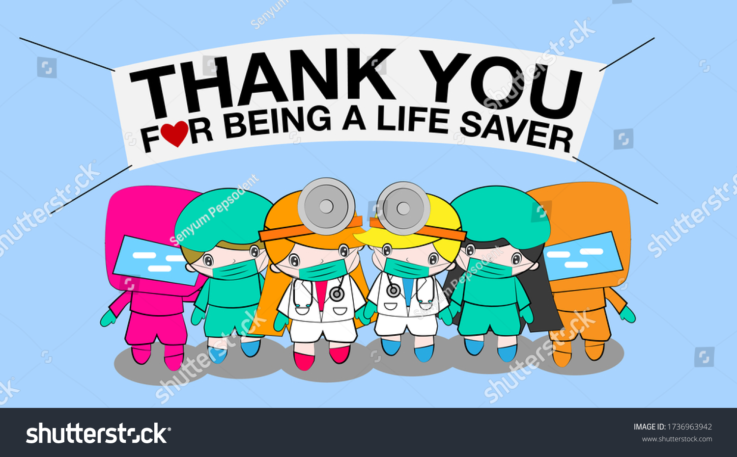 Thank you doctor and Nurses and medical personnel team for fighting the new type corona virus or covid-19. vector character with cartoon illustration