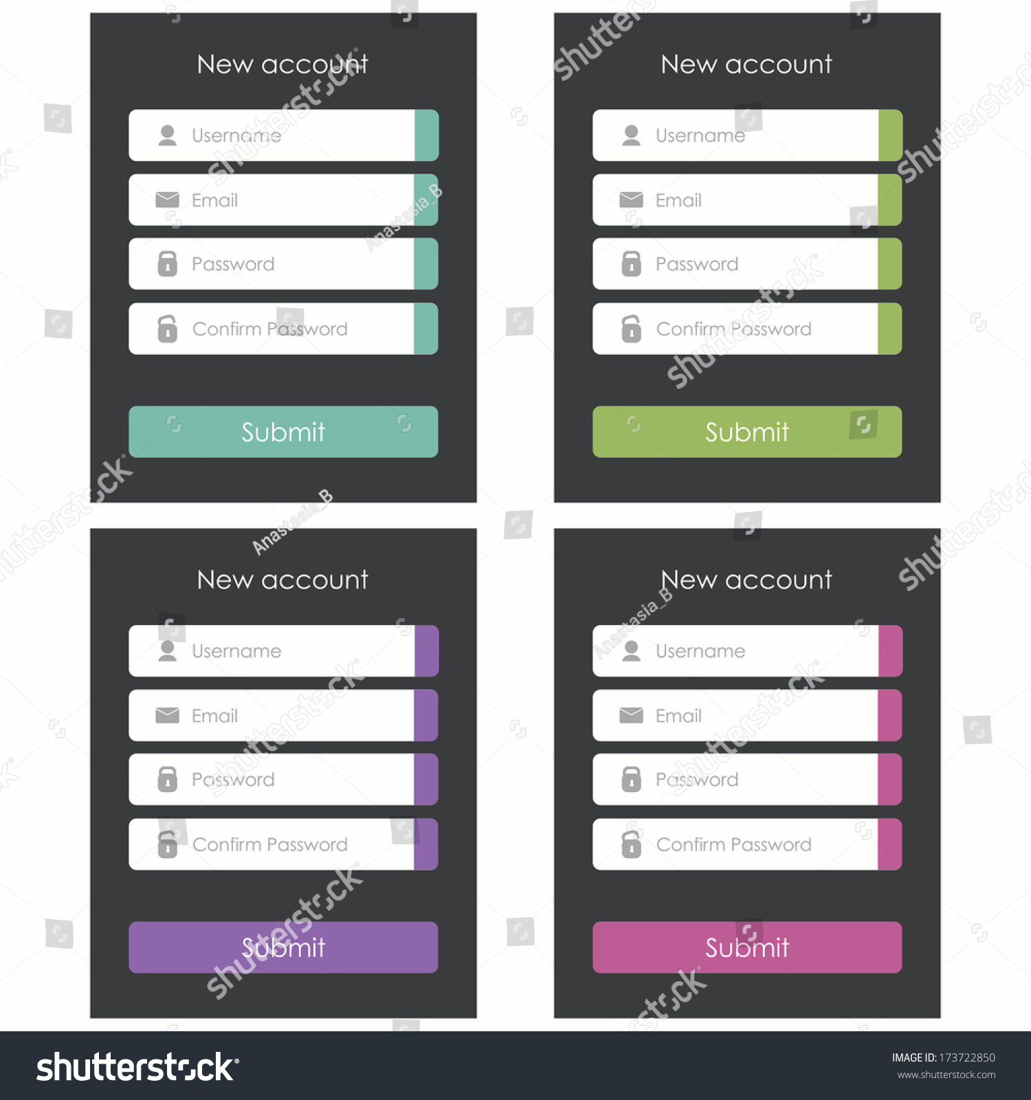 Registration form flat design template website stock for Mobile app privacy policy template