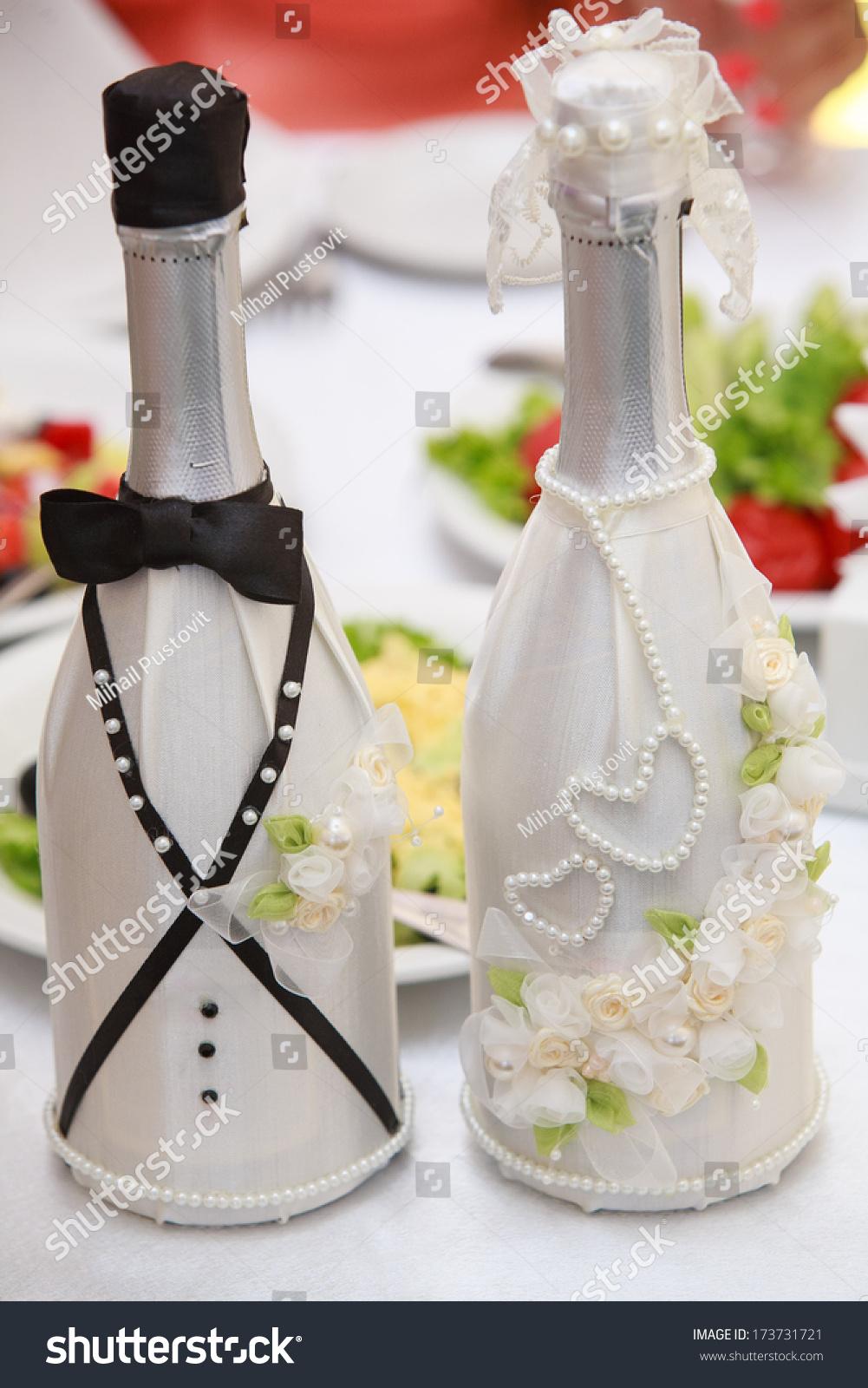 Champagne Wedding Bottles Suit Festive Decoration Stock Photo ...