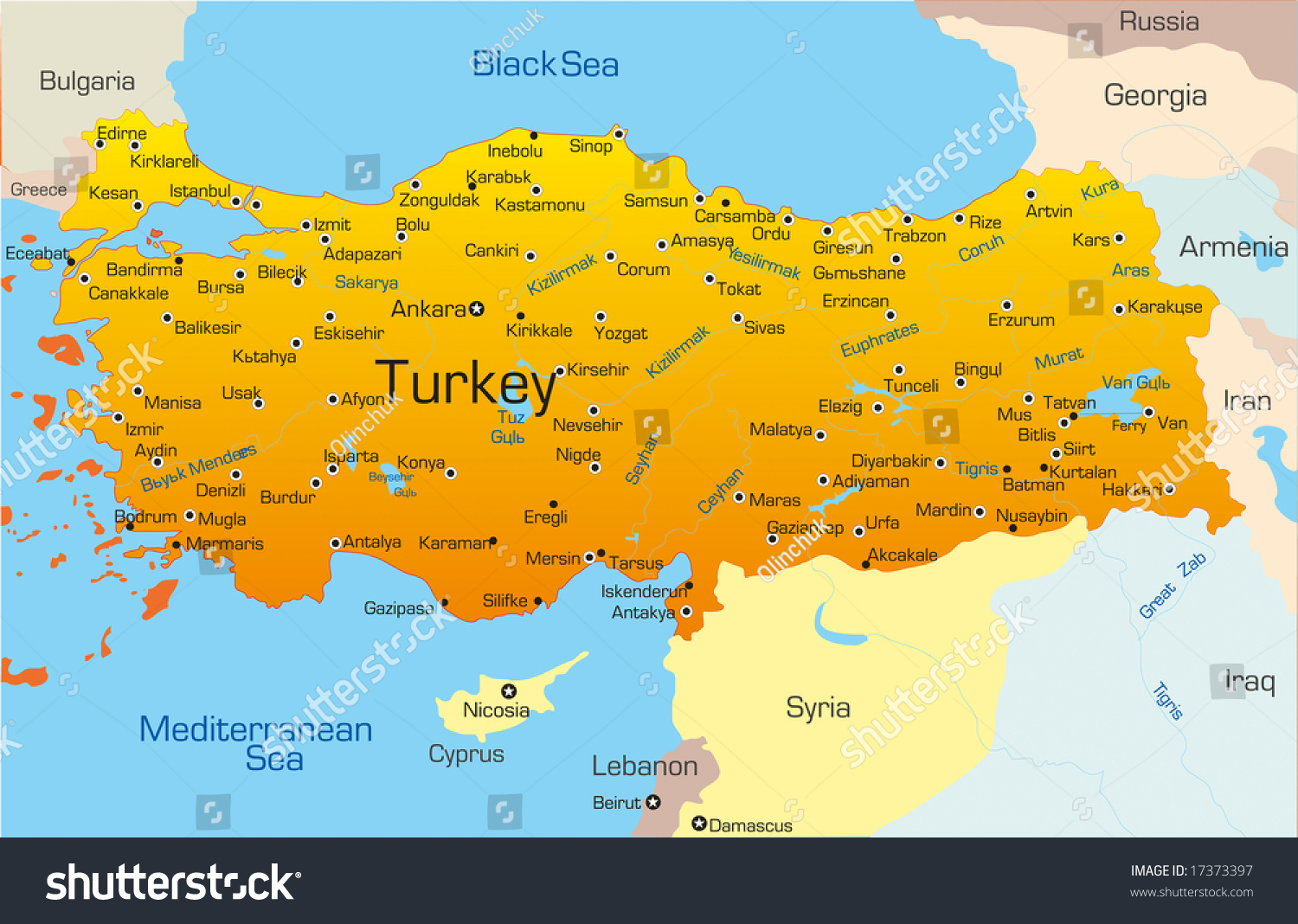 Vector Map Turkey Country Stock Vector 17373397 - Shutterstock