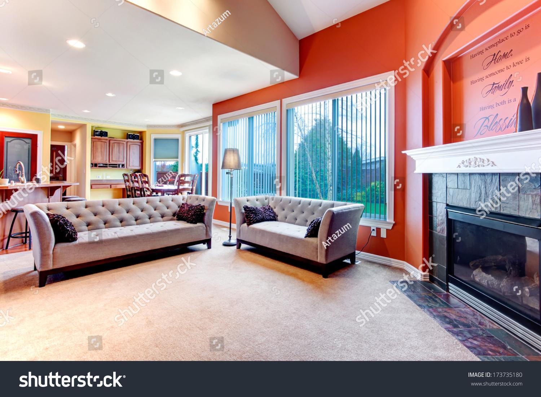 Orange Color Combinations For Living Room Great Color Combination Orange Walls Make Stock Photo 173735180