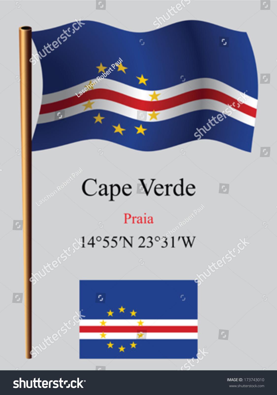 Cape Verde Wavy Flag Coordinates Against Stock Vector - Cape verde coordinates