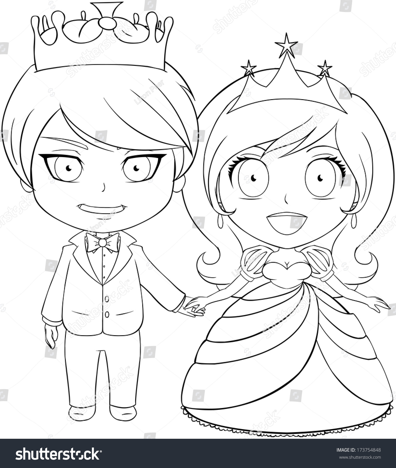 vector illustration coloring page prince princess stock vector