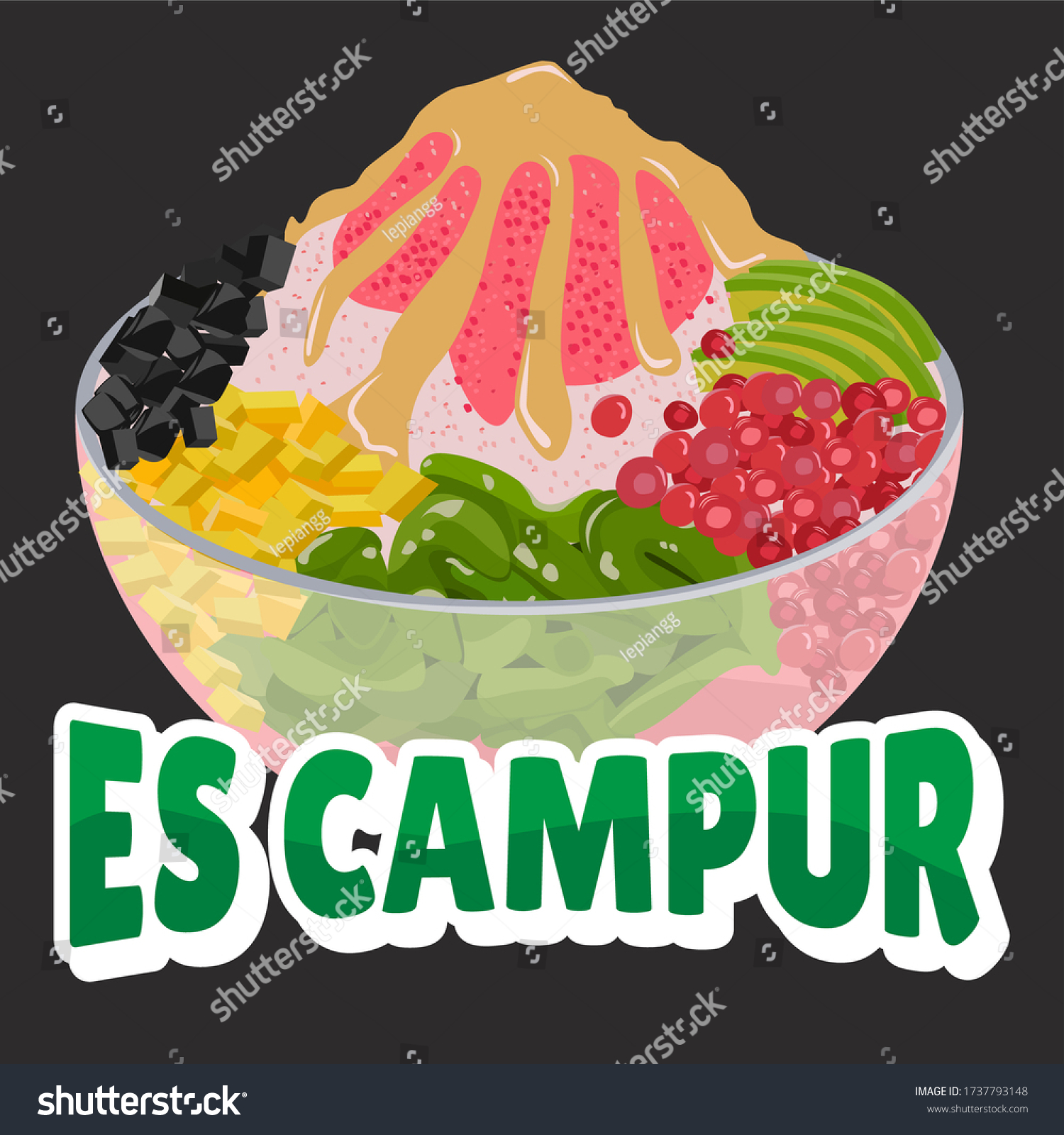 Es Campur One Typical Indonesian Drinks Stock Vector Royalty Free 1737793148