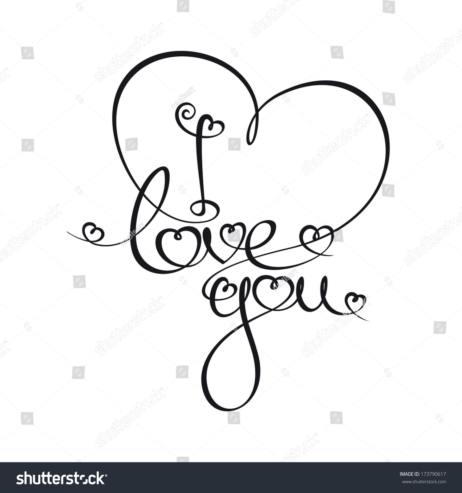 Custom handwriting calligraphic typography i love stock I love you calligraphy