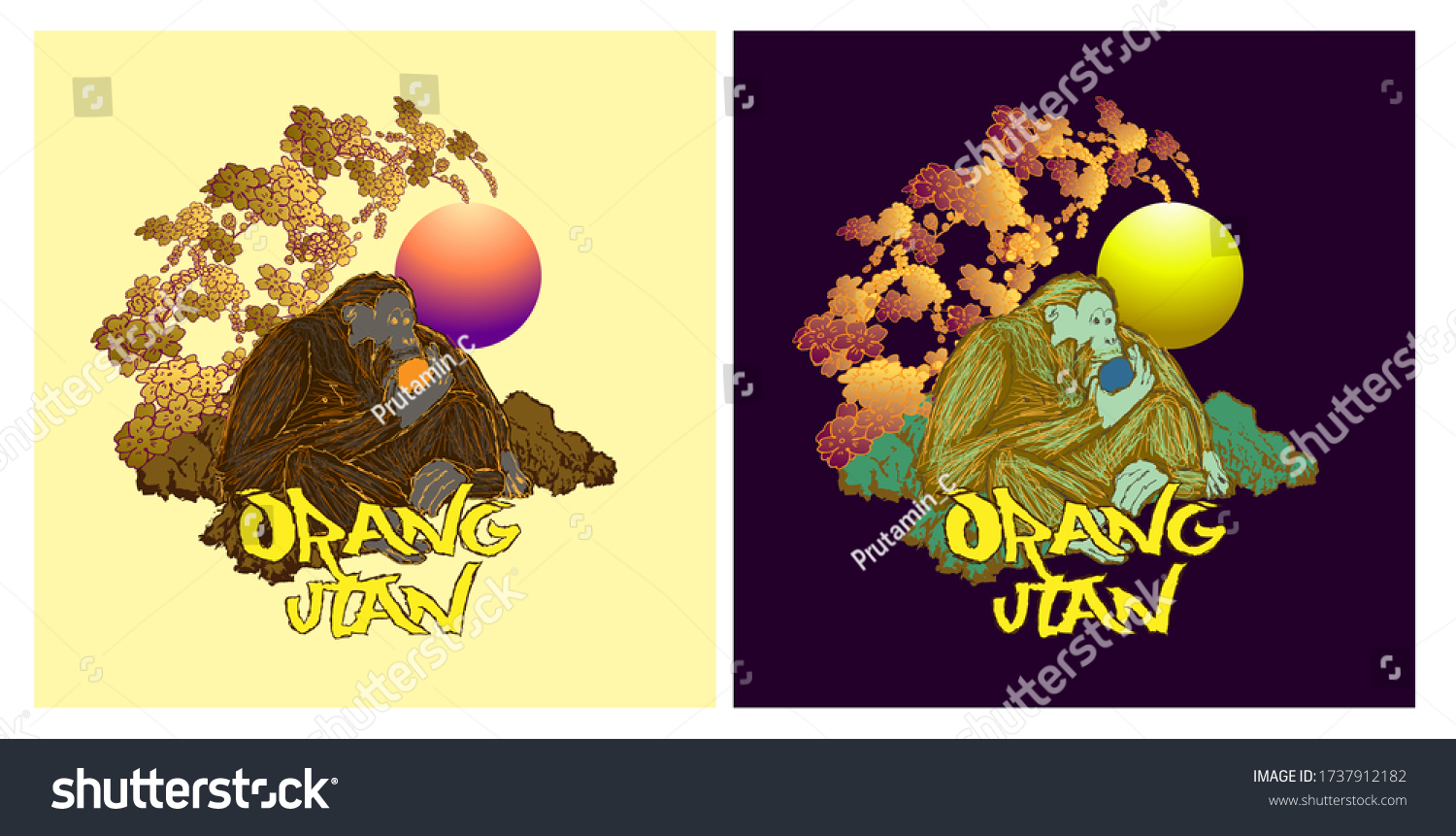 orangutan or indonesia's apes illustration design for sukajan is mean japan traditional cloth or t-shirt with digital hand drawn