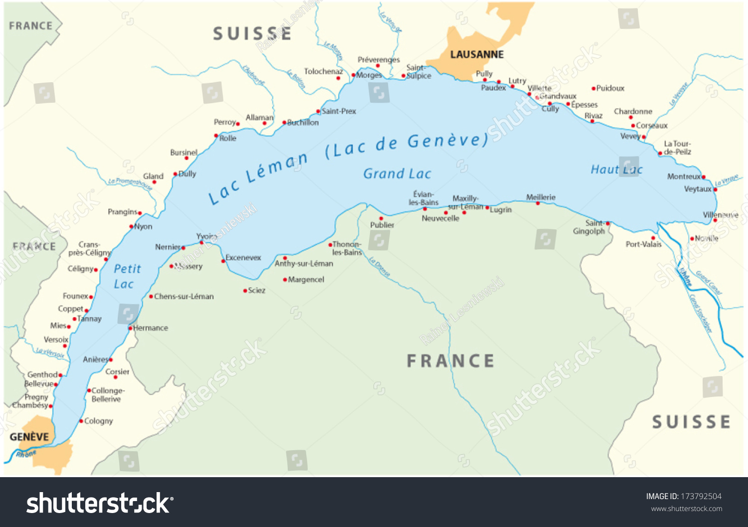 Lake Geneva Map Stock Vector (2018) 173792504   Shutterstock