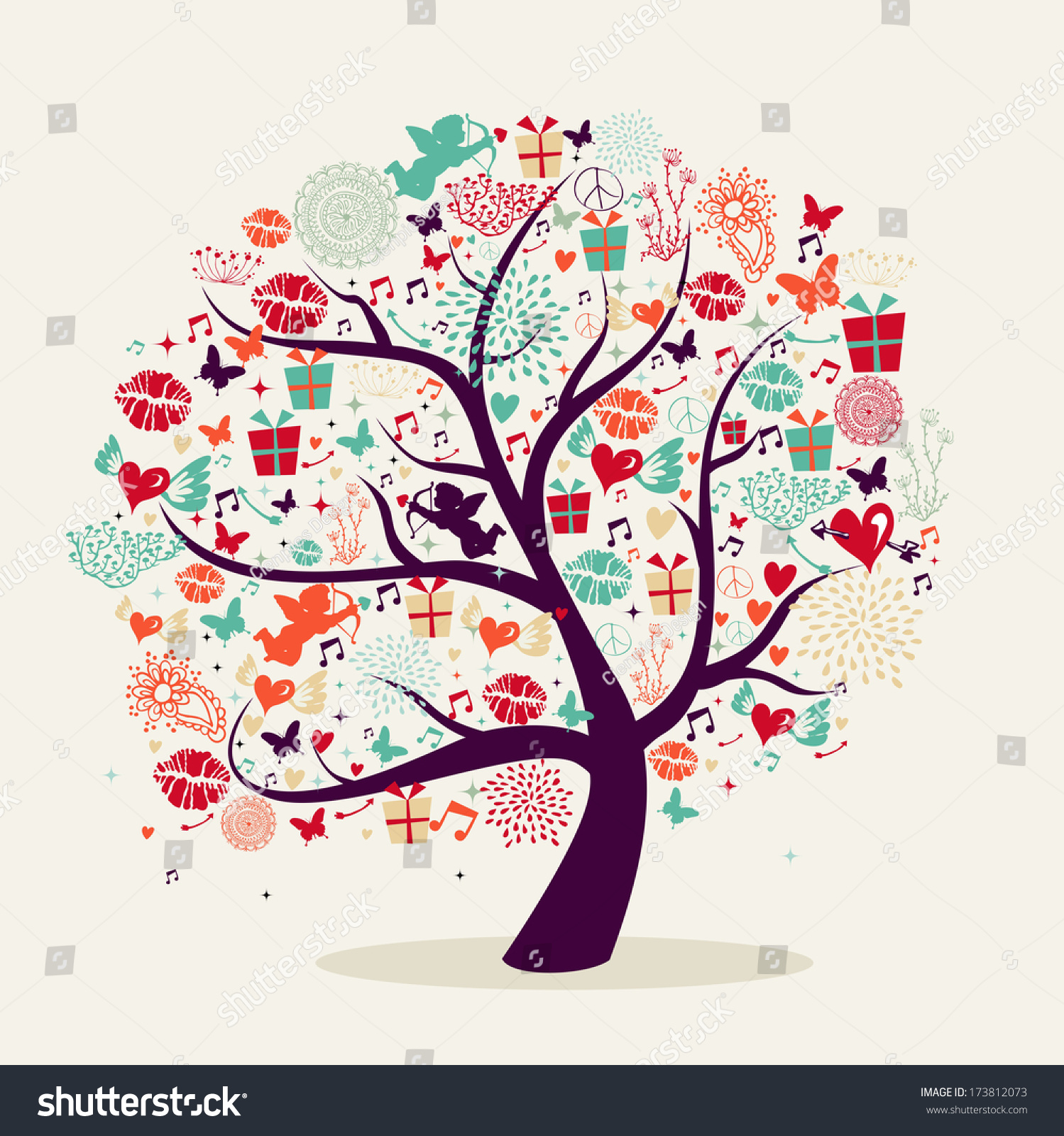 Colorful valentines day romantic tree greeting stock